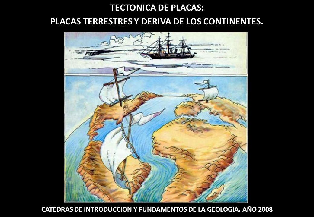 TECTONICA DE PLACAS: PLACAS TERRESTRES Y DERIVA DE LOS CONTINENTES. CATEDRAS DE INTRODUCCION Y FUNDAMENTOS DE LA GEOLOGIA. AÑO 2008