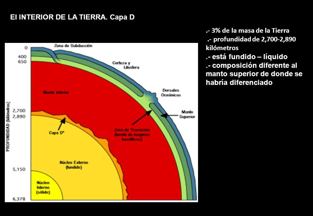 El INTERIOR DE LA TIERRA. Capa D.- 3% de la masa de la Tierra.- profundidad de 2,700-2,890 kilómetros.- está fundido – líquido.- composición diferente
