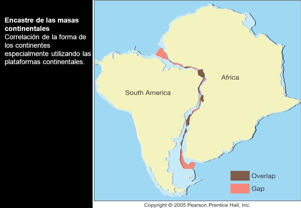 Encastre de las masas continentales Correlación de la forma de los continentes especialmente utilizando las plataformas continentales.