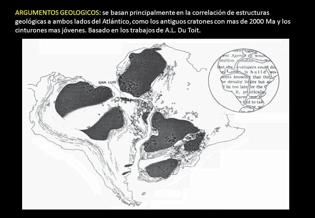 ARGUMENTOS GEOLOGICOS: se basan principalmente en la correlación de estructuras geológicas a ambos lados del Atlántico, como los antiguos cratones con