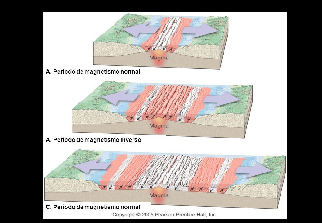 A. Período de magnetismo normal A. Período de magnetismo inverso C. Período de magnetismo normal