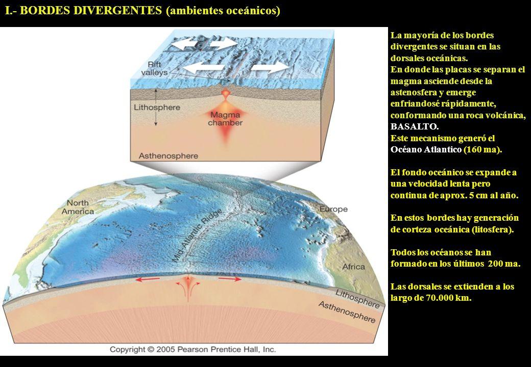 I.- BORDES DIVERGENTES (ambientes oceánicos) La mayoría de los bordes divergentes se situan en las dorsales oceánicas. En donde las placas se separan