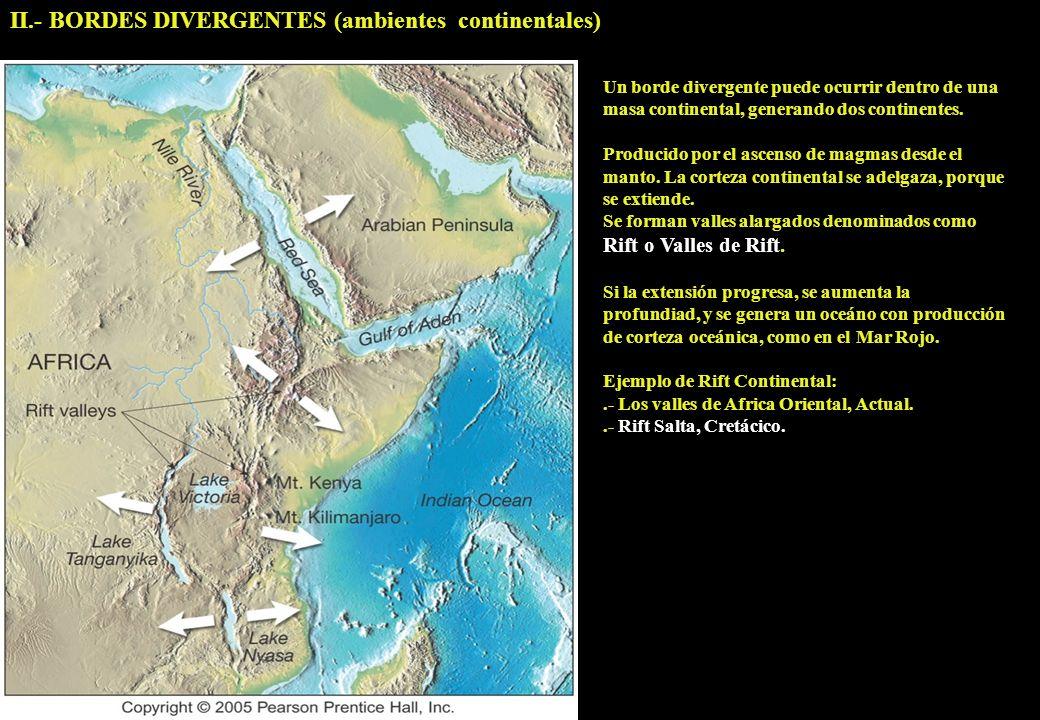 II.- BORDES DIVERGENTES (ambientes continentales) Un borde divergente puede ocurrir dentro de una masa continental, generando dos continentes. Produci