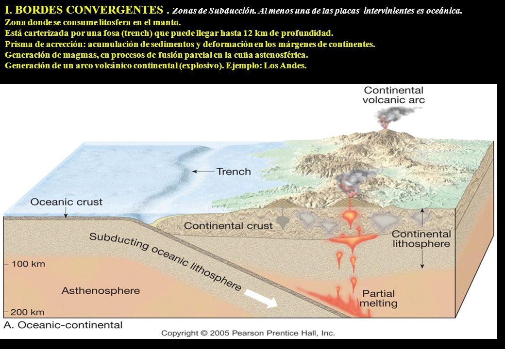 I. BORDES CONVERGENTES. Zonas de Subducción. Al menos una de las placas intervinientes es oceánica. Zona donde se consume litosfera en el manto. Está