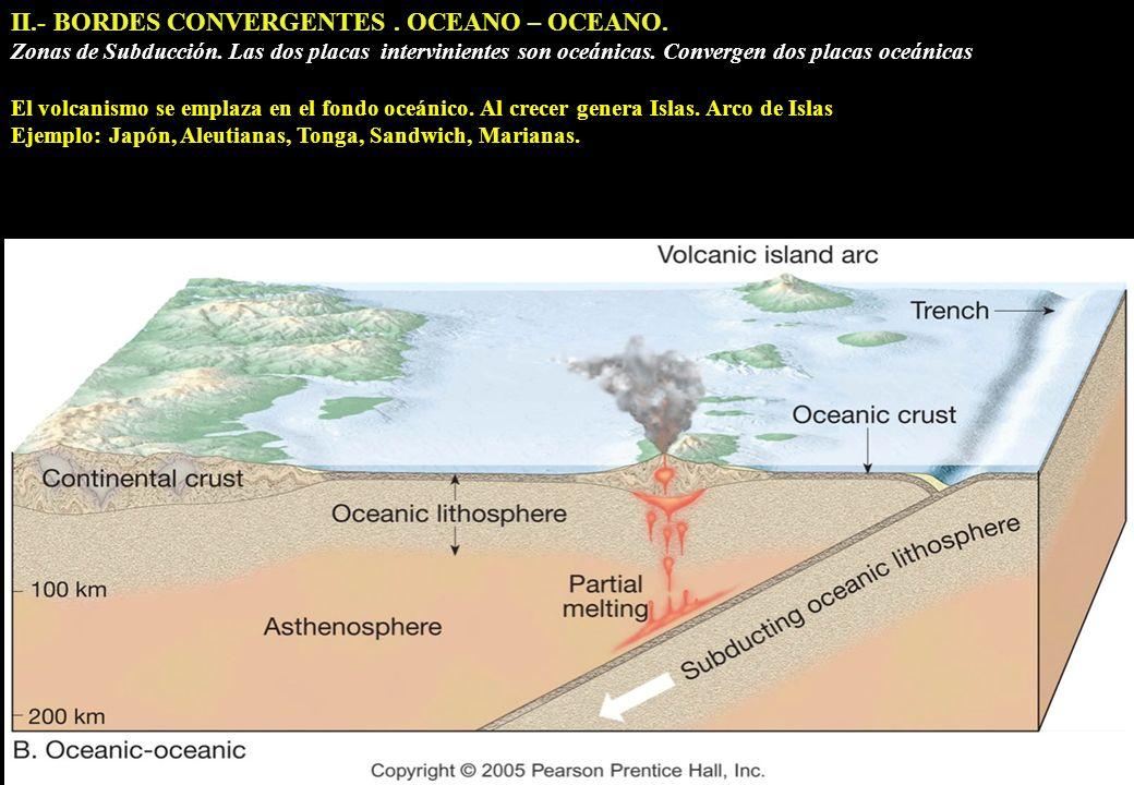 II.- BORDES CONVERGENTES. OCEANO – OCEANO. Zonas de Subducción. Las dos placas intervinientes son oceánicas. Convergen dos placas oceánicas El volcani