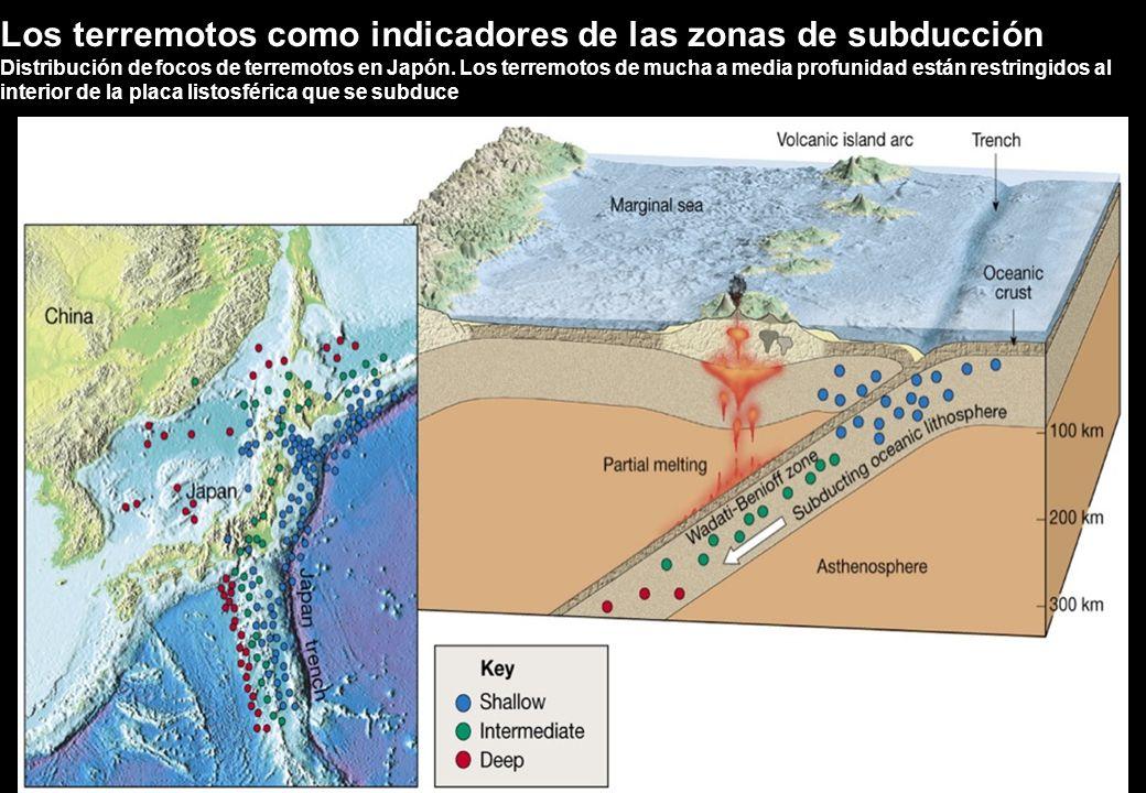 Distribución de focos de terremotos en Japón. Los terremotos de mucha a media profunidad están restringidos al interior de la placa listosférica que s