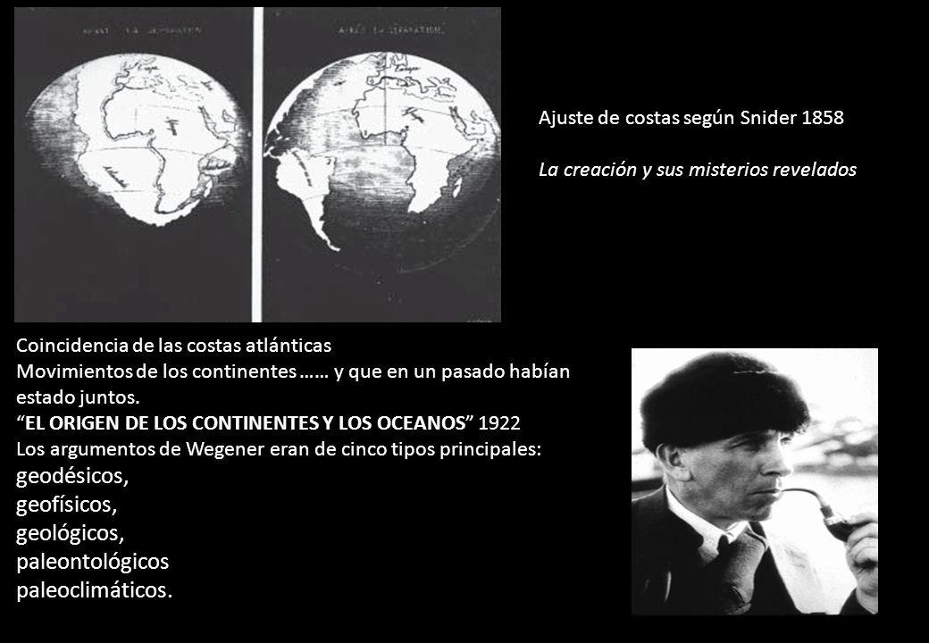 Ajuste de costas según Snider 1858 La creación y sus misterios revelados Coincidencia de las costas atlánticas Movimientos de los continentes …… y que