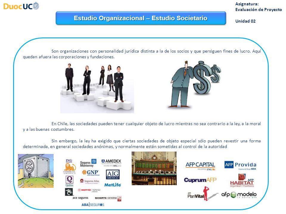 Estudio Organizacional – Estudio Societario Asignatura: Evaluación de Proyecto Unidad 02 Son organizaciones con personalidad jurídica distinta a la de los socios y que persiguen fines de lucro.