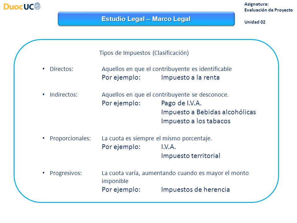 Estudio Legal – Marco Legal Asignatura: Evaluación de Proyecto Unidad 02 Tipos de Impuestos (Clasificación) Directos:Aquellos en que el contribuyente es identificable Por ejemplo: Impuesto a la renta Indirectos:Aquellos en que el contribuyente se desconoce.