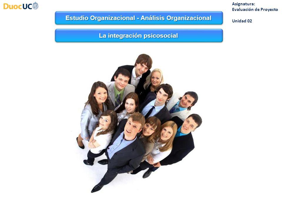 Estudio Organizacional - Análisis Organizacional Asignatura: Evaluación de Proyecto Unidad 02 Las condiciones de trabajo