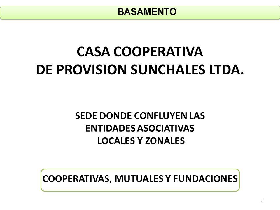 CASA COOPERATIVA DE PROVISION SUNCHALES LTDA. SEDE DONDE CONFLUYEN LAS ENTIDADES ASOCIATIVAS LOCALES Y ZONALES COOPERATIVAS, MUTUALES Y FUNDACIONES BA