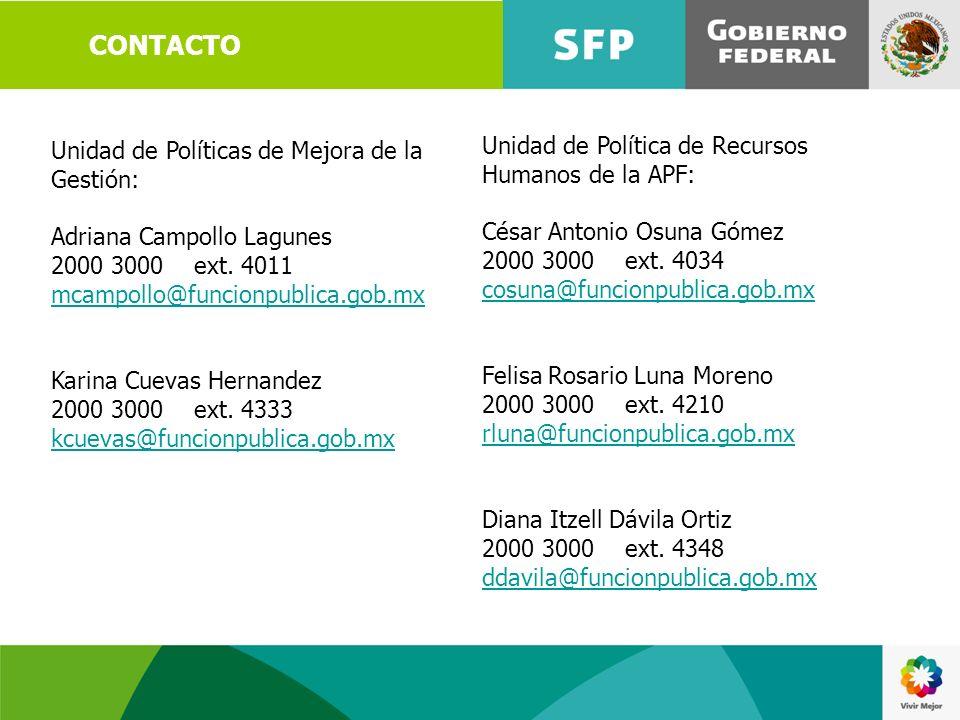 CONTACTO Unidad de Política de Recursos Humanos de la APF: César Antonio Osuna Gómez 2000 3000 ext. 4034 cosuna@funcionpublica.gob.mx Felisa Rosario L