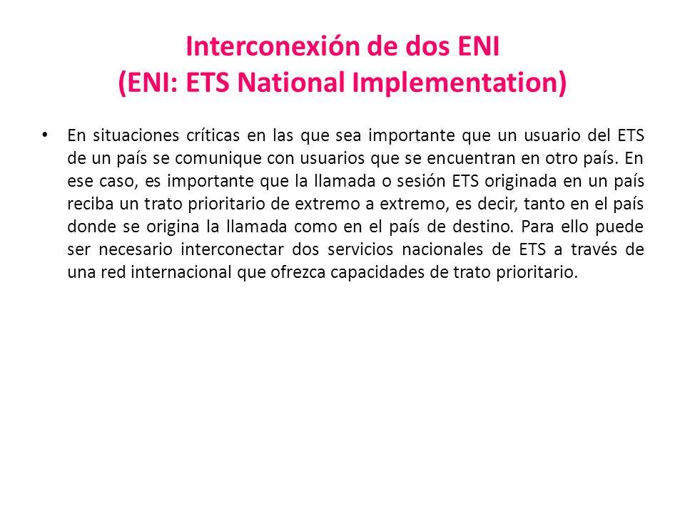 Interconexión de dos ENI (ENI: ETS National Implementation) En situaciones críticas en las que sea importante que un usuario del ETS de un país se com