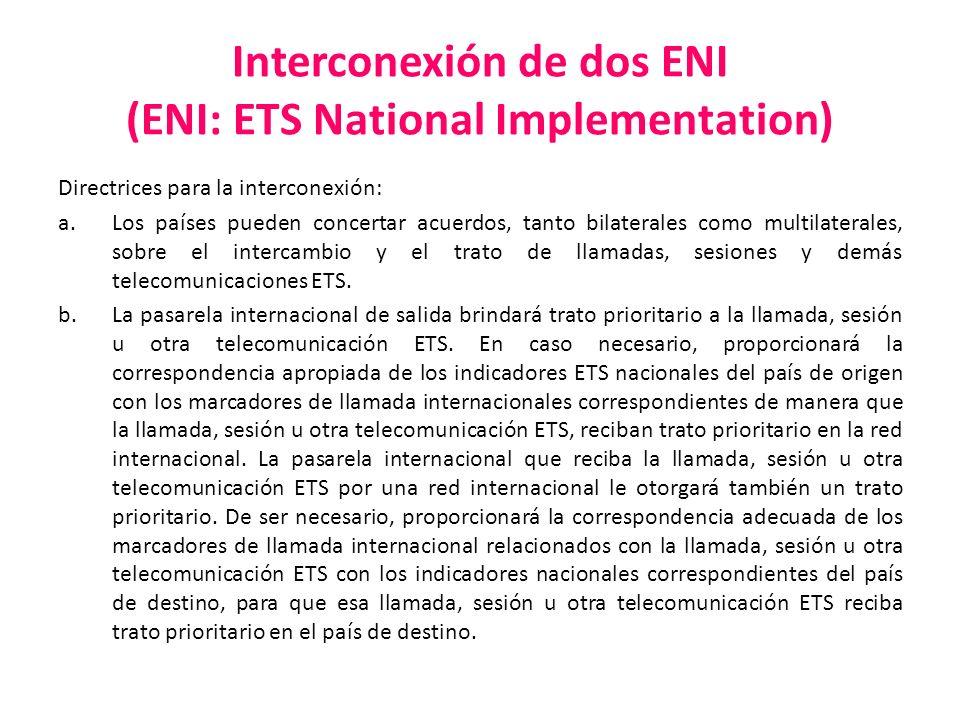 Interconexión de dos ENI (ENI: ETS National Implementation) Directrices para la interconexión: a.Los países pueden concertar acuerdos, tanto bilateral