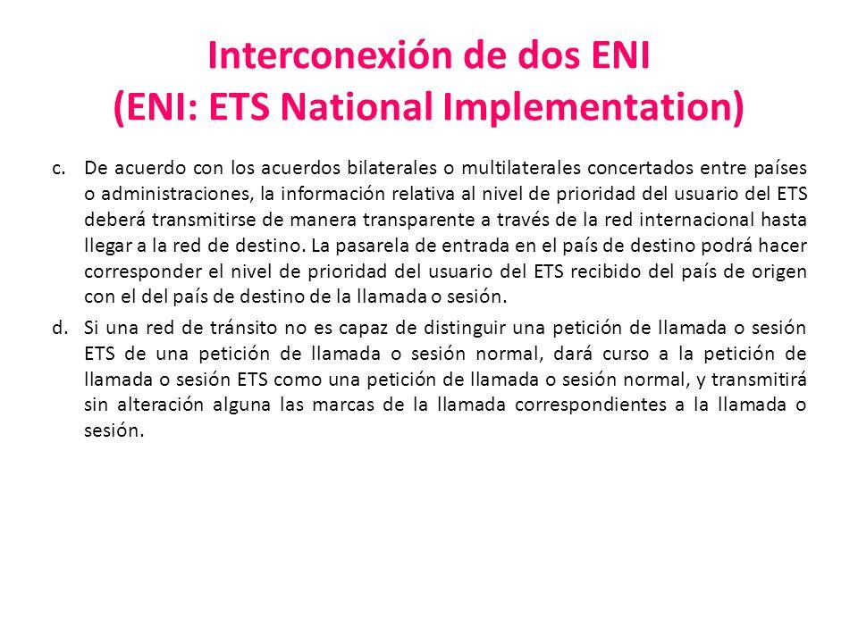 Interconexión de dos ENI (ENI: ETS National Implementation) c.De acuerdo con los acuerdos bilaterales o multilaterales concertados entre países o admi