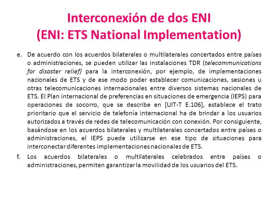 Interconexión de dos ENI (ENI: ETS National Implementation) e. De acuerdo con los acuerdos bilaterales o multilaterales concertados entre países o adm