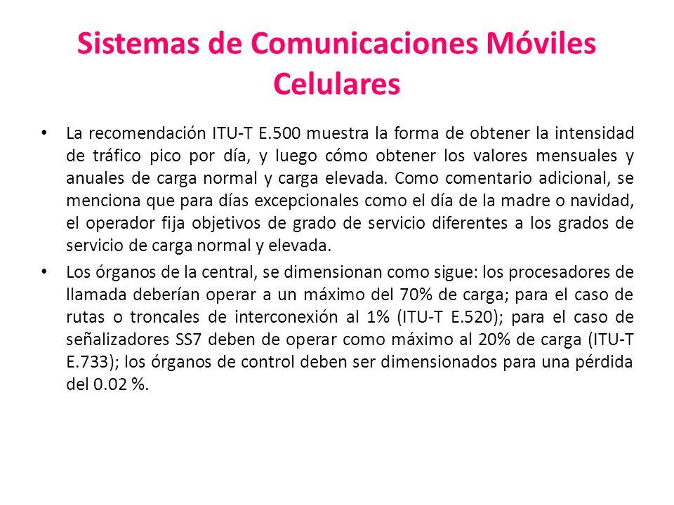 Sistemas de Comunicaciones Móviles Celulares La recomendación ITU-T E.500 muestra la forma de obtener la intensidad de tráfico pico por día, y luego c
