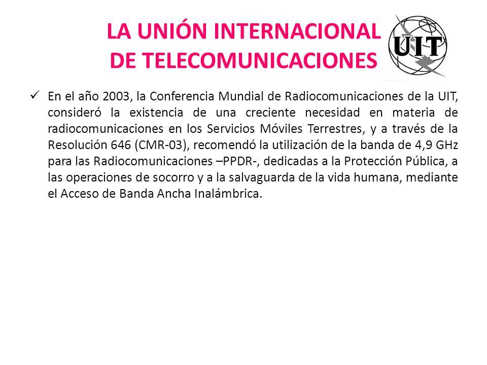 LA UNIÓN INTERNACIONAL DE TELECOMUNICACIONES En el año 2003, la Conferencia Mundial de Radiocomunicaciones de la UIT, consideró la existencia de una c