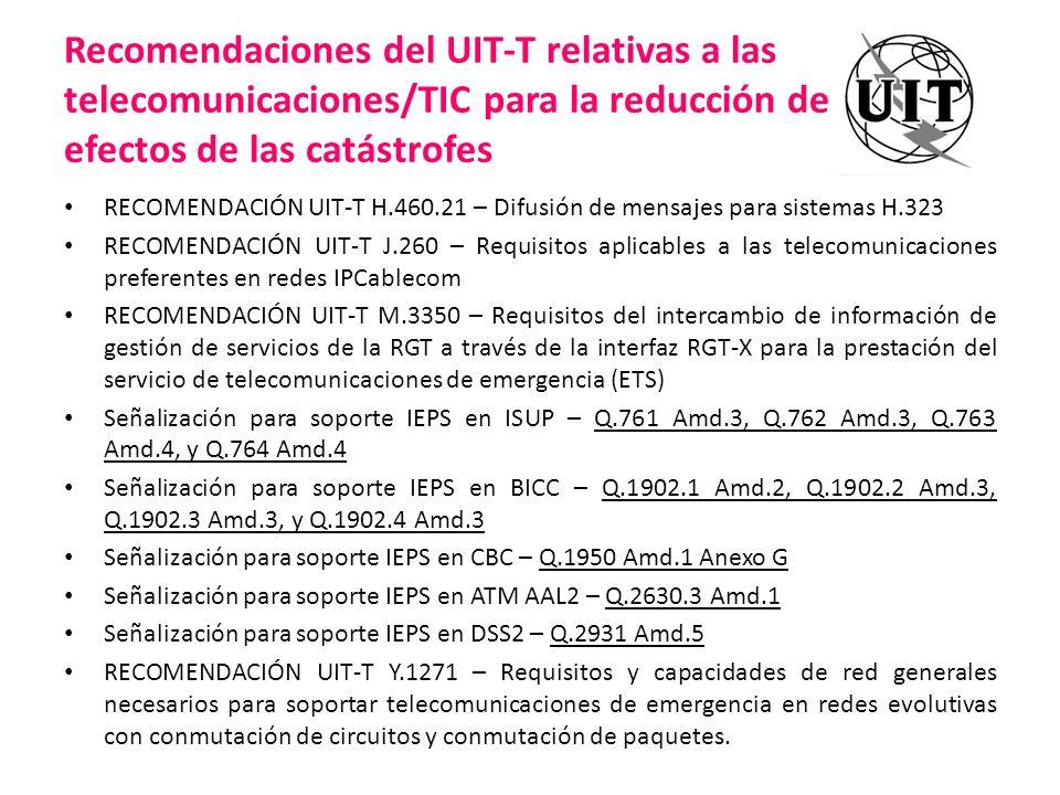 Recomendaciones del UIT-T relativas a las telecomunicaciones/TIC para la reducción de los efectos de las catástrofes RECOMENDACIÓN UIT-T H.460.21 – Di