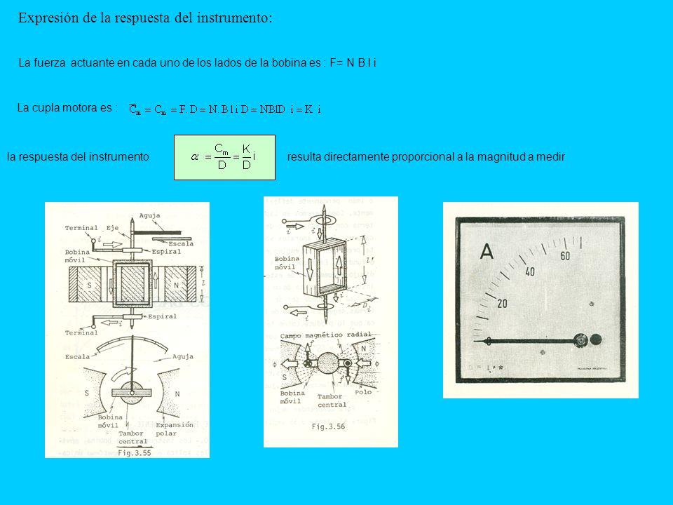 Expresión de la respuesta del instrumento: La fuerza actuante en cada uno de los lados de la bobina es : F= N B.l i La cupla motora es : la respuesta