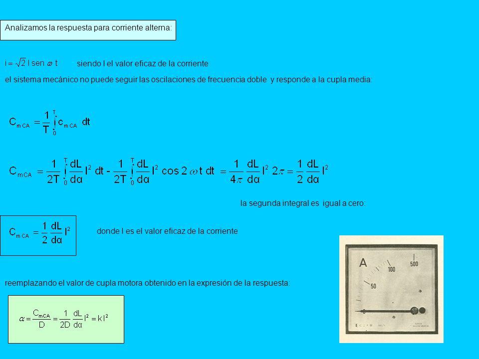 Analizamos la respuesta para corriente alterna: siendo I el valor eficaz de la corriente el sistema mecánico no puede seguir las oscilaciones de frecu