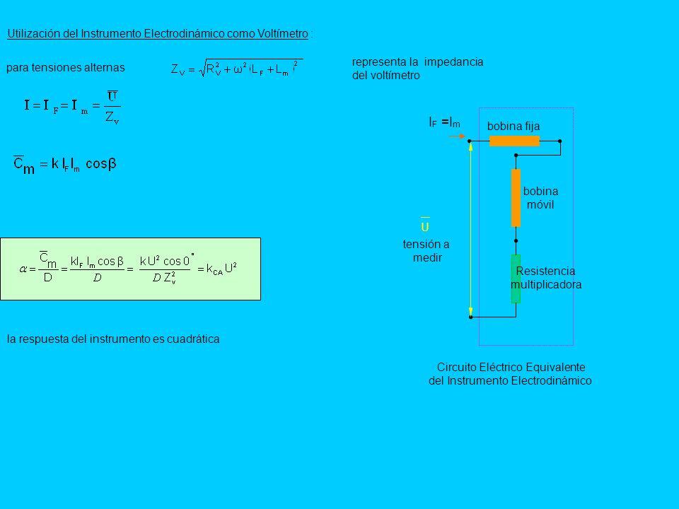 Utilización del Instrumento Electrodinámico como Voltímetro : Circuito Eléctrico Equivalente del Instrumento Electrodinámico bobina móvil bobina fija