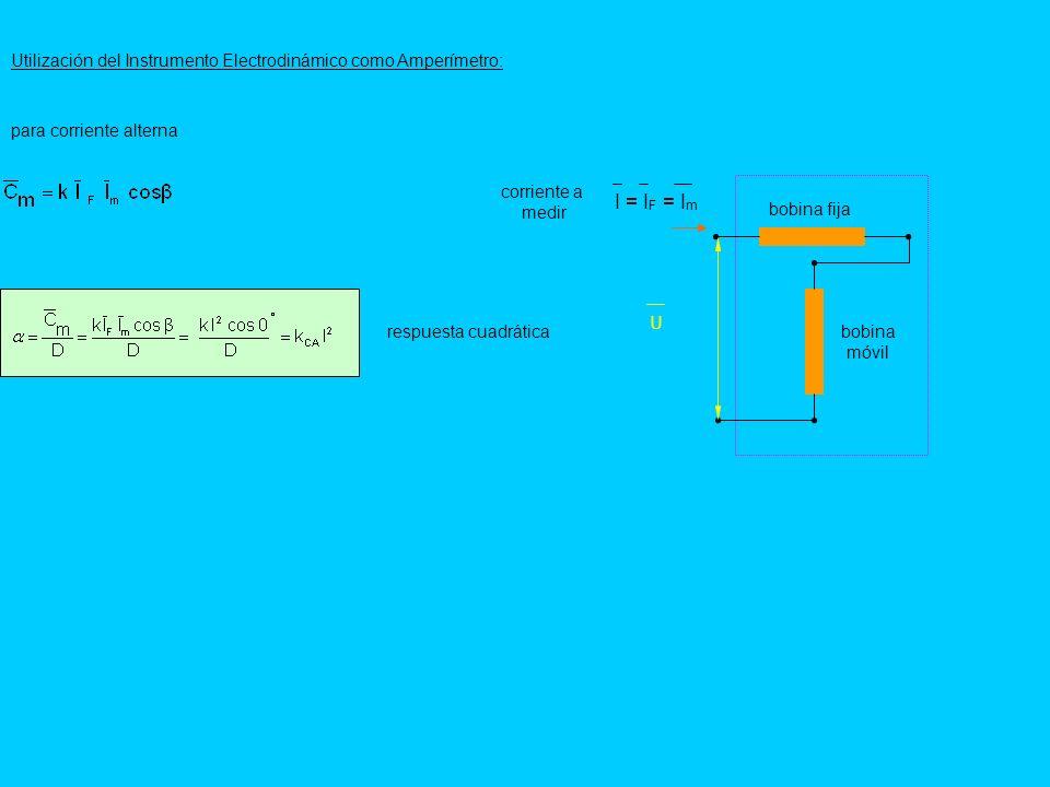 Utilización del Instrumento Electrodinámico como Amperímetro: para corriente alterna bobina móvil bobina fija I = I F = I m U corriente a medir respue