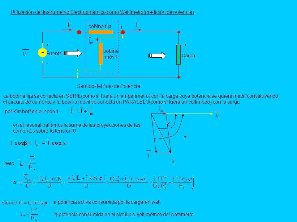 Utilización del Instrumento Electrodinámico como Wattímetro(medición de potencia) La bobina fija se conecta en SERIE(como si fuera un amperímetro) con