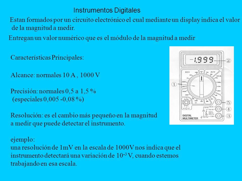 Instrumentos Digitales Entregan un valor numérico que es el módulo de la magnitud a medir Estan formados por un circuito electrónico el cual mediante