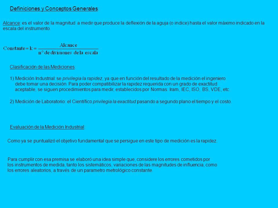 Definiciones y Conceptos Generales : Clasificación de las Mediciones: 1) Medición Industrial: se privilegia la rapidez, ya que en función del resultad