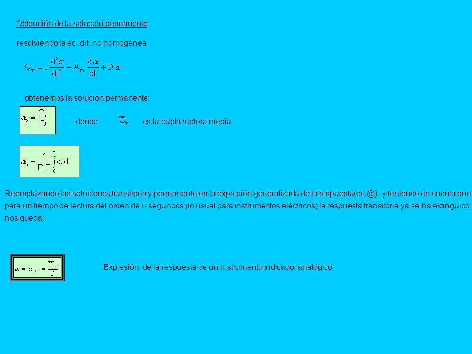 Obtención de la solución permanente resolviendo la ec. dif. no homogénea obtenemos la solución permanente: Reemplazando las soluciones transitoria y p