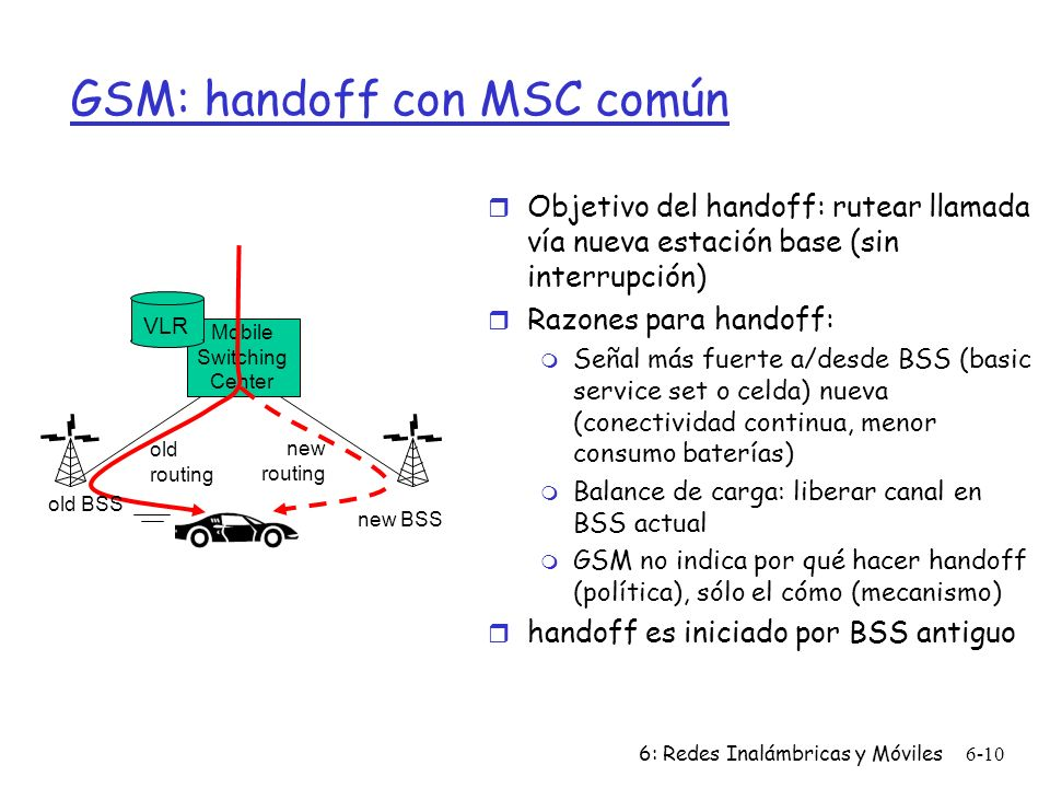 6: Redes Inalámbricas y Móviles6-10 Mobile Switching Center VLR old BSS new BSS old routing new routing GSM: handoff con MSC común r Objetivo del hand