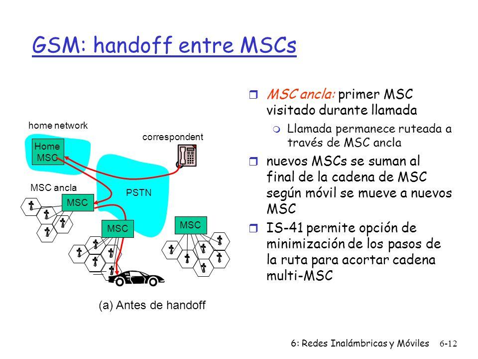 6: Redes Inalámbricas y Móviles6-12 home network Home MSC PSTN correspondent MSC MSC ancla MSC (a) Antes de handoff GSM: handoff entre MSCs r MSC ancla: primer MSC visitado durante llamada m Llamada permanece ruteada a través de MSC ancla r nuevos MSCs se suman al final de la cadena de MSC según móvil se mueve a nuevos MSC r IS-41 permite opción de minimización de los pasos de la ruta para acortar cadena multi-MSC