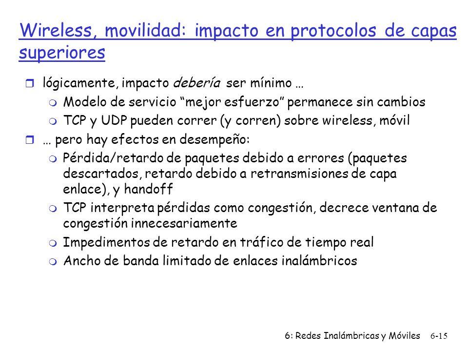 6: Redes Inalámbricas y Móviles6-15 Wireless, movilidad: impacto en protocolos de capas superiores r lógicamente, impacto debería ser mínimo … m Modelo de servicio mejor esfuerzo permanece sin cambios m TCP y UDP pueden correr (y corren) sobre wireless, móvil r … pero hay efectos en desempeño: m Pérdida/retardo de paquetes debido a errores (paquetes descartados, retardo debido a retransmisiones de capa enlace), y handoff m TCP interpreta pérdidas como congestión, decrece ventana de congestión innecesariamente m Impedimentos de retardo en tráfico de tiempo real m Ancho de banda limitado de enlaces inalámbricos