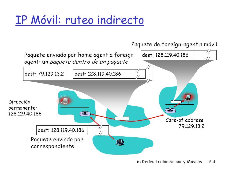 6: Redes Inalámbricas y Móviles6-4 IP Móvil: ruteo indirecto Dirección permanente: 128.119.40.186 Care-of address: 79.129.13.2 dest: 128.119.40.186 Paquete enviado por correspondiente dest: 79.129.13.2 dest: 128.119.40.186 Paquete enviado por home agent a foreign agent: un paquete dentro de un paquete dest: 128.119.40.186 Paquete de foreign-agent a móvil