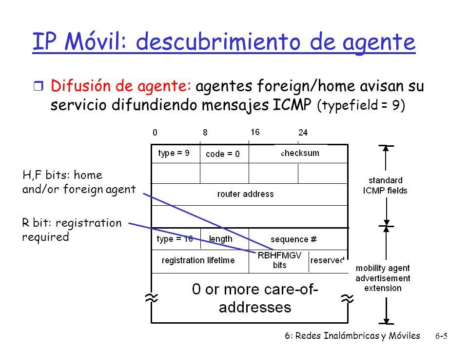 6: Redes Inalámbricas y Móviles6-16 Capítulo 6 Resumen Wireless r Enlaces wireless: m capacidad, distancia m Interferencia, decaimiento m CDMA r IEEE 802.11 (wi-fi) m CSMA/CA reflejas características del canal wireless r Acceso celular m arquitectura m estándares (e.g., GSM, CDMA-2000, UMTS) Movilidad r principios: direccionamiento, ruteo a usuarios móviles m Redes home y visitada m Ruteo indirecto y directo m care-of-addresses r Estudio de casos m IP móvil m Movilidad en GSM r Impacto sobre protocolos de capas superiores
