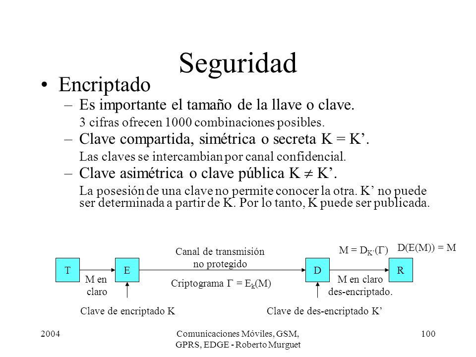 2004Comunicaciones Móviles, GSM, GPRS, EDGE - Roberto Murguet 100 Seguridad Encriptado –Es importante el tamaño de la llave o clave. 3 cifras ofrecen