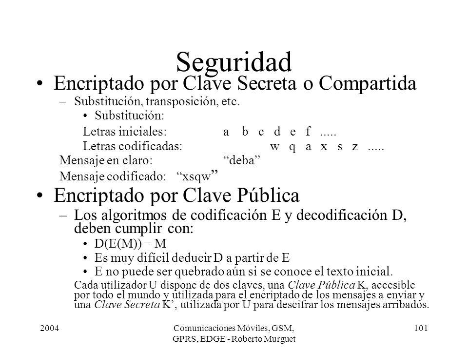 2004Comunicaciones Móviles, GSM, GPRS, EDGE - Roberto Murguet 101 Seguridad Encriptado por Clave Secreta o Compartida –Substitución, transposición, et