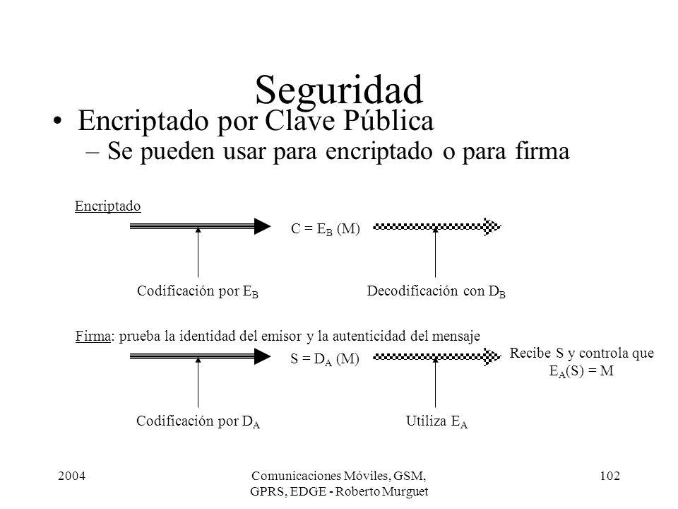 2004Comunicaciones Móviles, GSM, GPRS, EDGE - Roberto Murguet 102 Seguridad Encriptado por Clave Pública –Se pueden usar para encriptado o para firma