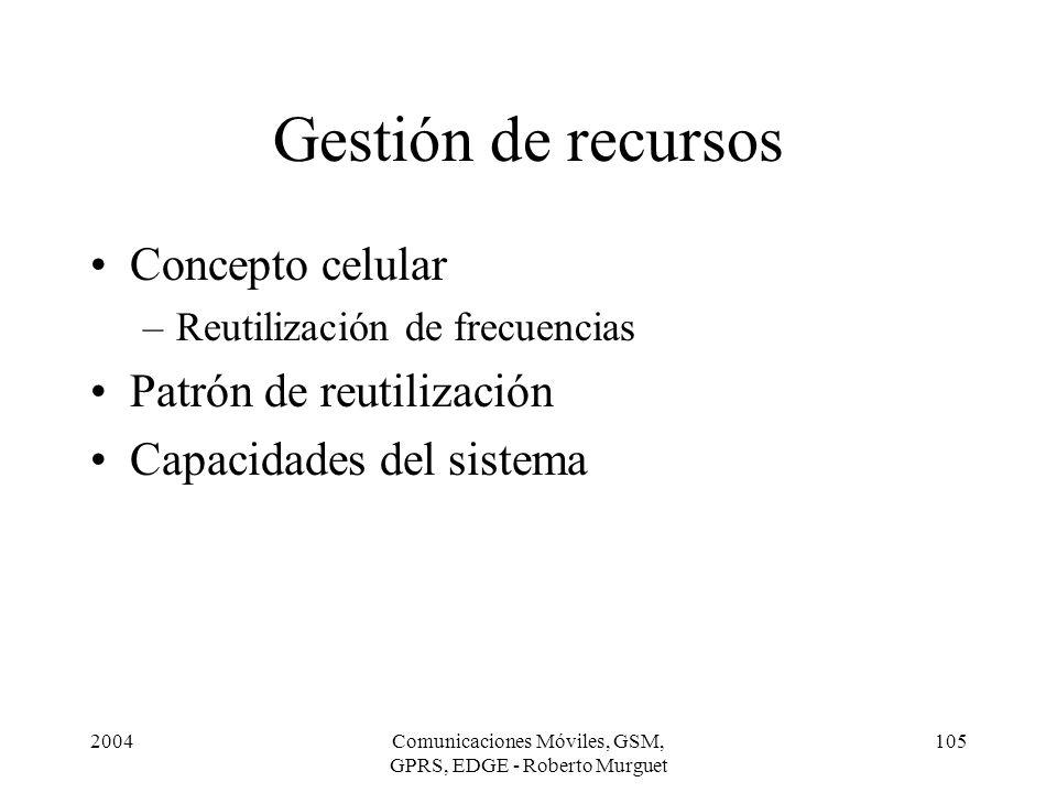 2004Comunicaciones Móviles, GSM, GPRS, EDGE - Roberto Murguet 105 Gestión de recursos Concepto celular –Reutilización de frecuencias Patrón de reutili