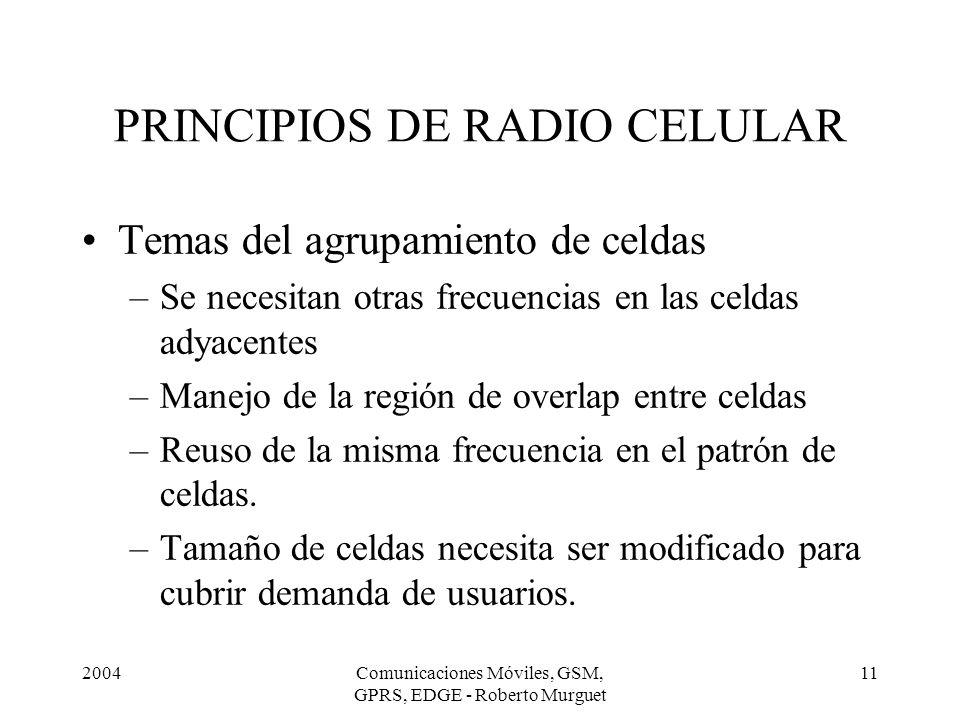 2004Comunicaciones Móviles, GSM, GPRS, EDGE - Roberto Murguet 11 PRINCIPIOS DE RADIO CELULAR Temas del agrupamiento de celdas –Se necesitan otras frec