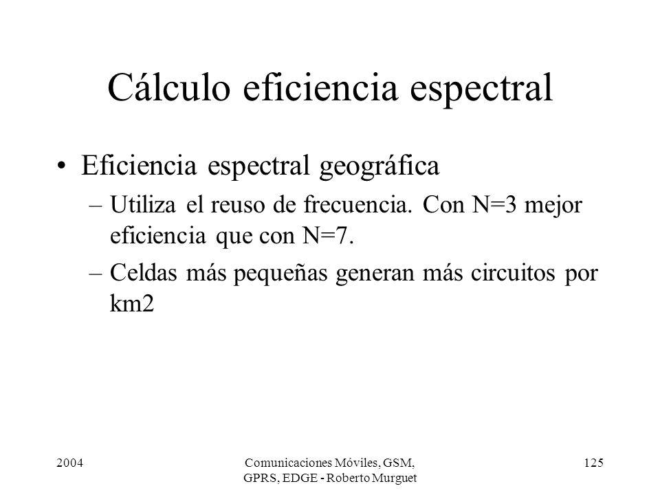 2004Comunicaciones Móviles, GSM, GPRS, EDGE - Roberto Murguet 125 Cálculo eficiencia espectral Eficiencia espectral geográfica –Utiliza el reuso de fr