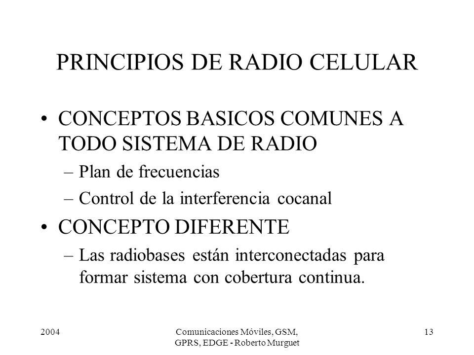 2004Comunicaciones Móviles, GSM, GPRS, EDGE - Roberto Murguet 13 PRINCIPIOS DE RADIO CELULAR CONCEPTOS BASICOS COMUNES A TODO SISTEMA DE RADIO –Plan d