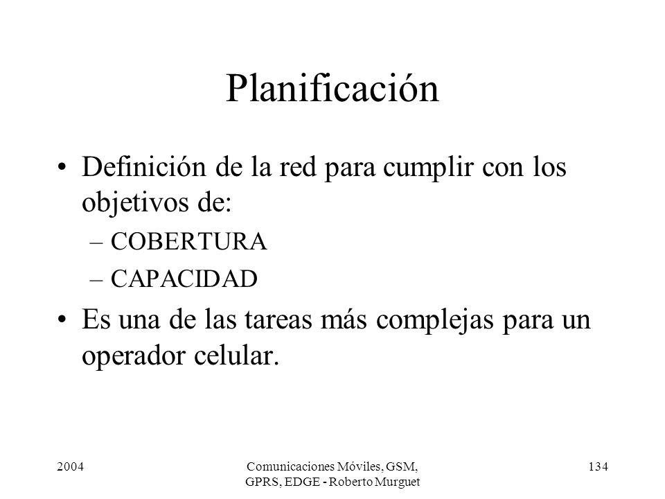 2004Comunicaciones Móviles, GSM, GPRS, EDGE - Roberto Murguet 134 Planificación Definición de la red para cumplir con los objetivos de: –COBERTURA –CA