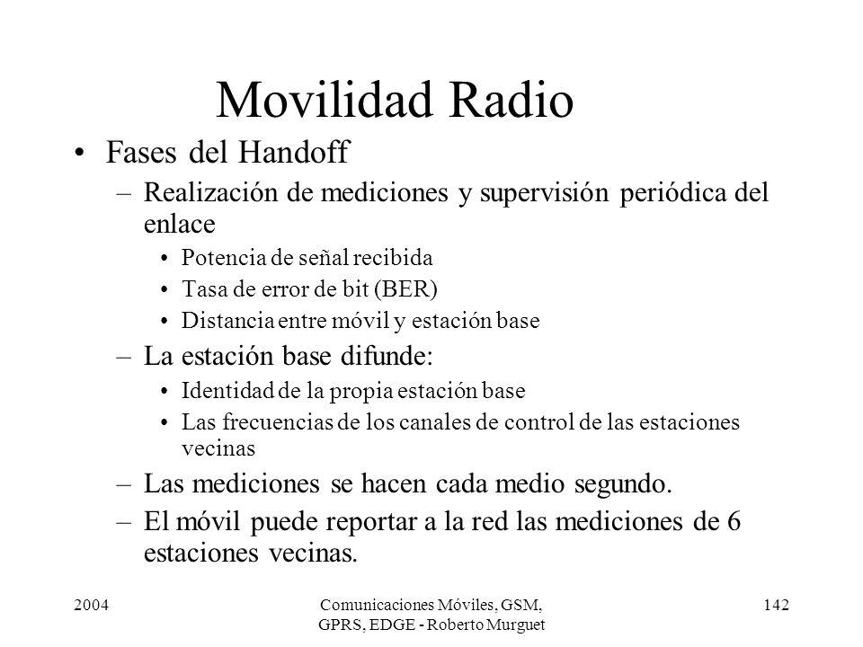 2004Comunicaciones Móviles, GSM, GPRS, EDGE - Roberto Murguet 142 Movilidad Radio Fases del Handoff –Realización de mediciones y supervisión periódica