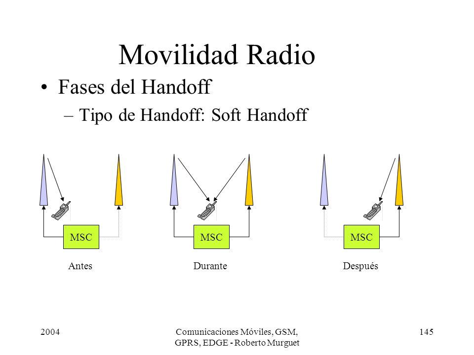 2004Comunicaciones Móviles, GSM, GPRS, EDGE - Roberto Murguet 145 Movilidad Radio Fases del Handoff –Tipo de Handoff: Soft Handoff MSC Antes MSC Duran