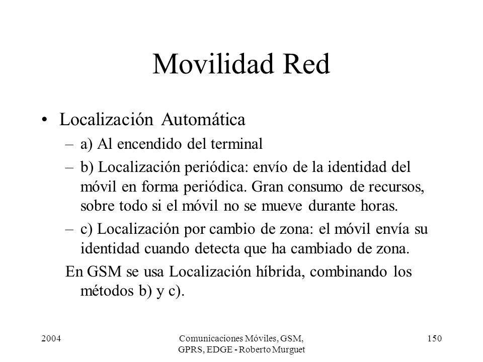 2004Comunicaciones Móviles, GSM, GPRS, EDGE - Roberto Murguet 150 Movilidad Red Localización Automática –a) Al encendido del terminal –b) Localización