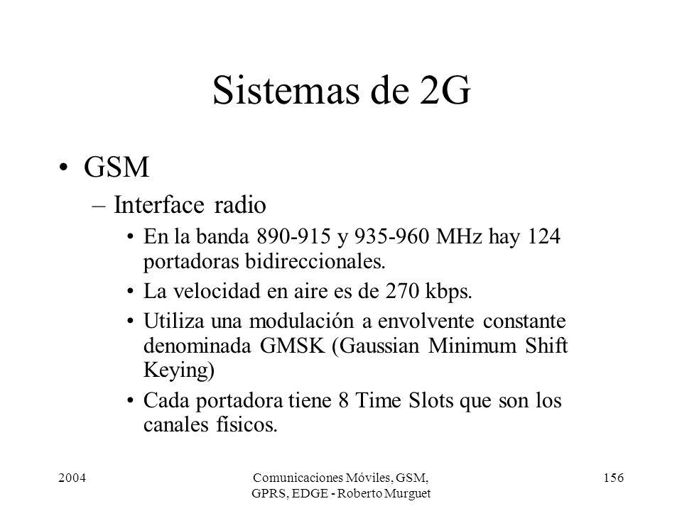 2004Comunicaciones Móviles, GSM, GPRS, EDGE - Roberto Murguet 156 Sistemas de 2G GSM –Interface radio En la banda 890-915 y 935-960 MHz hay 124 portad