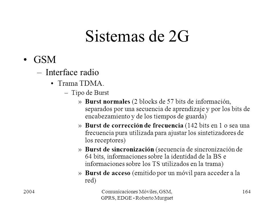 2004Comunicaciones Móviles, GSM, GPRS, EDGE - Roberto Murguet 164 GSM –Interface radio Trama TDMA. –Tipo de Burst »Burst normales (2 blocks de 57 bits