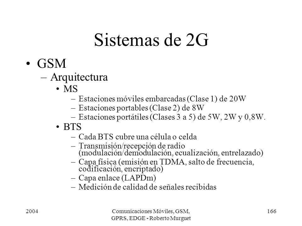 2004Comunicaciones Móviles, GSM, GPRS, EDGE - Roberto Murguet 166 GSM –Arquitectura MS –Estaciones móviles embarcadas (Clase 1) de 20W –Estaciones por